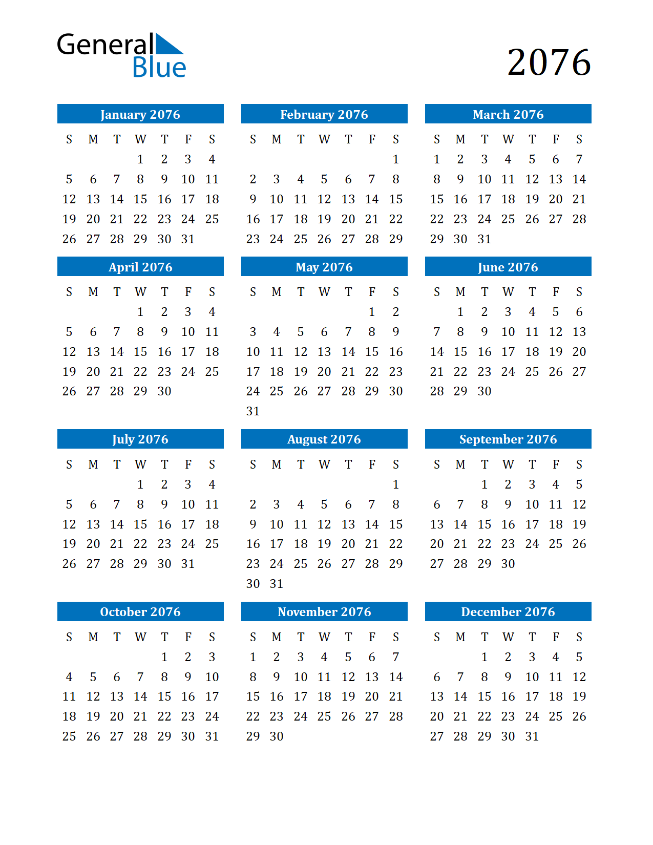 Image of 2076 Calendar
