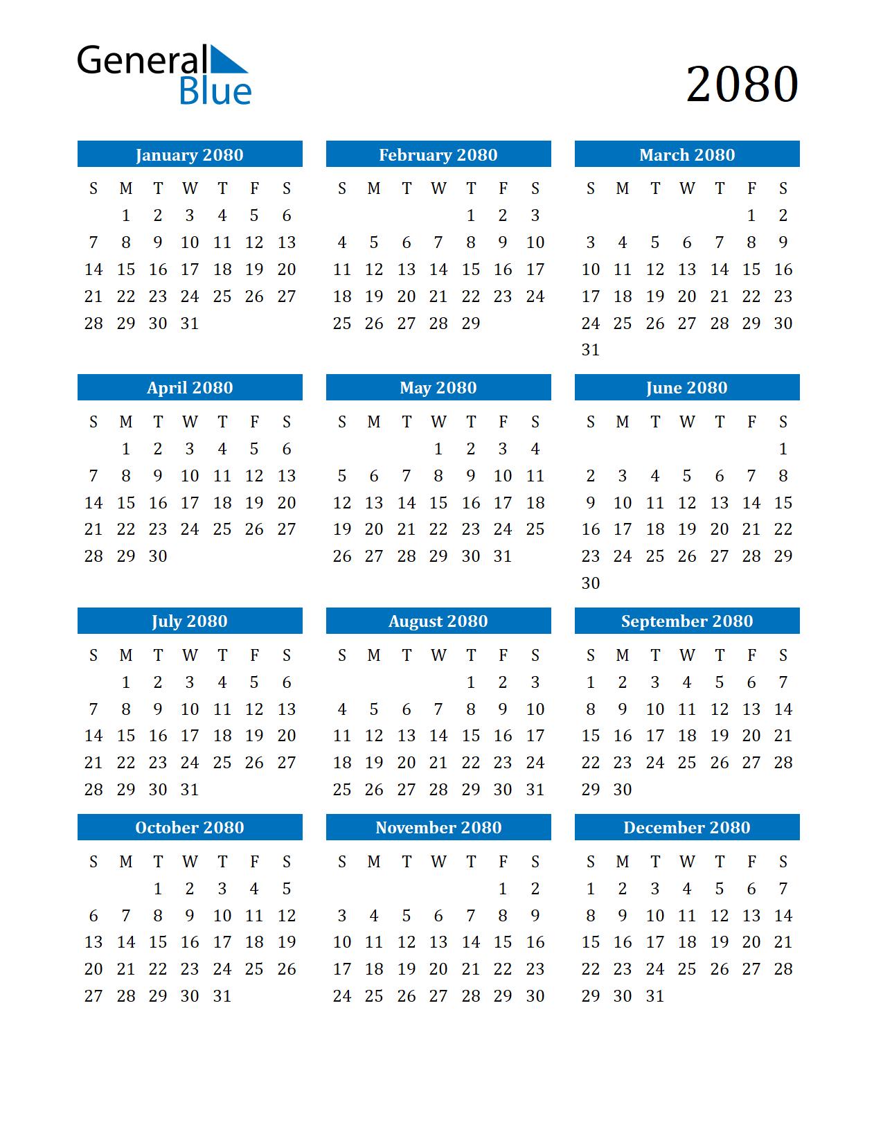 Image of 2080 Calendar