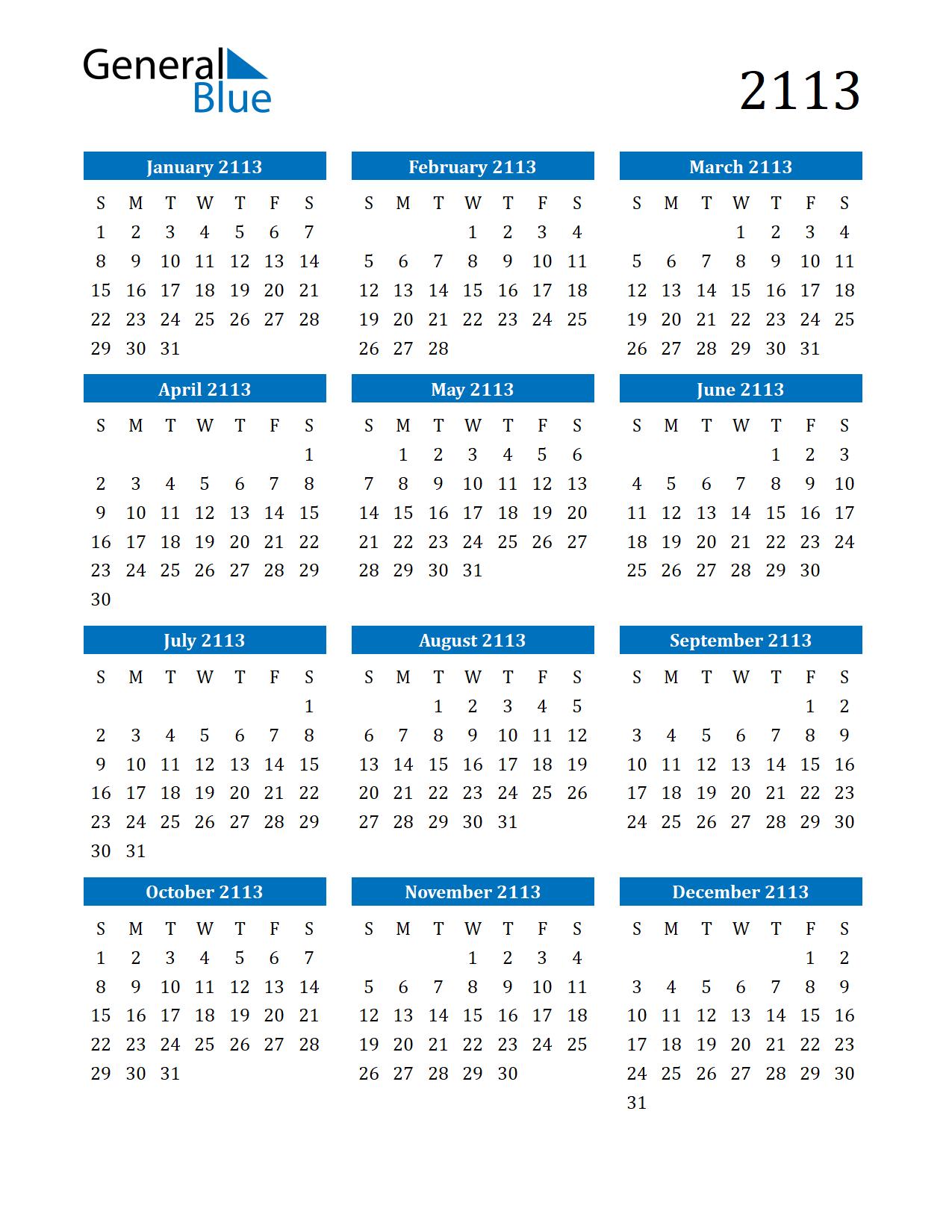 Image of 2113 Calendar