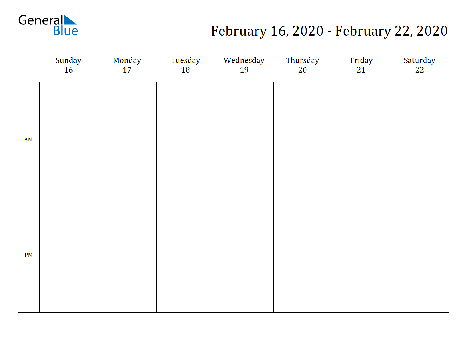 Weekly Calendar for Feb 16, 2020 to Feb 22, 2020