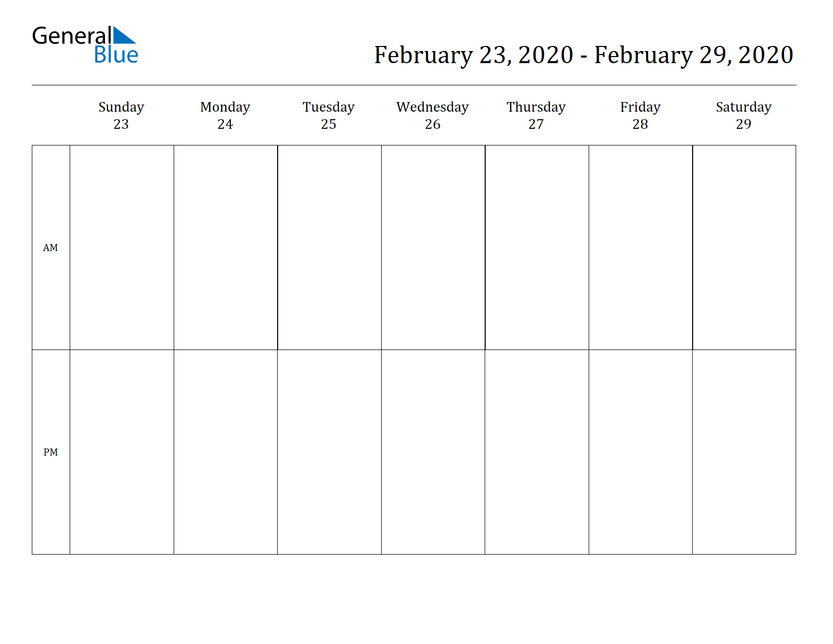 Weekly Calendar for Feb 23, 2020 to Feb 29, 2020