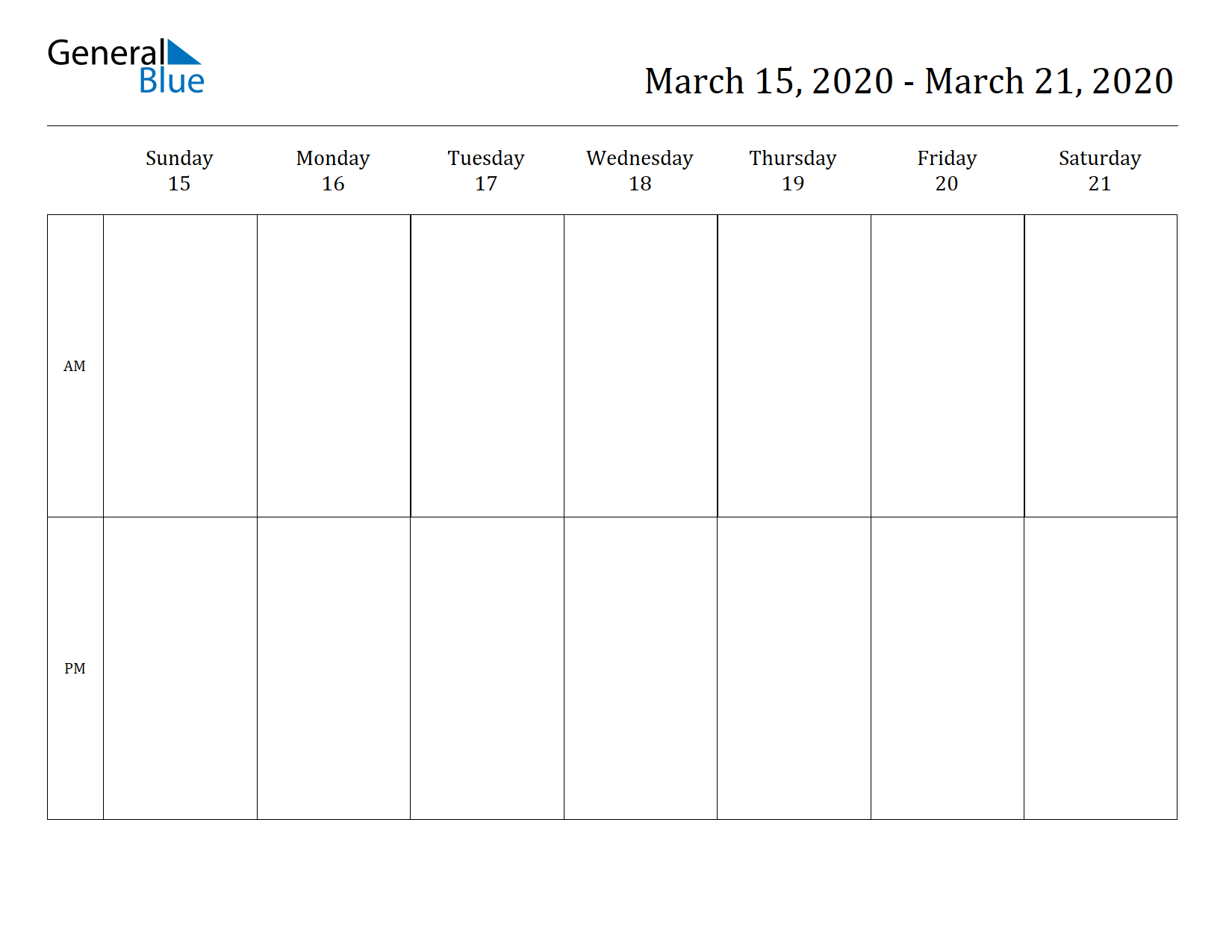 Weekly Calendar for Mar 15, 2020 to Mar 21, 2020