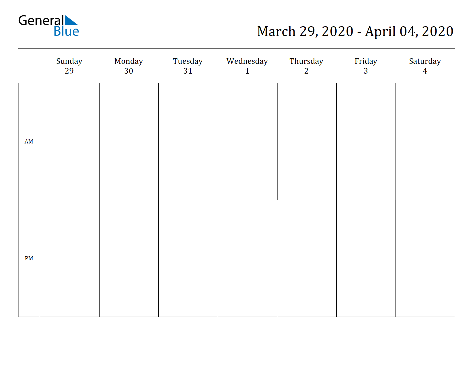 Weekly Calendar for Mar 29, 2020 to Apr 04, 2020