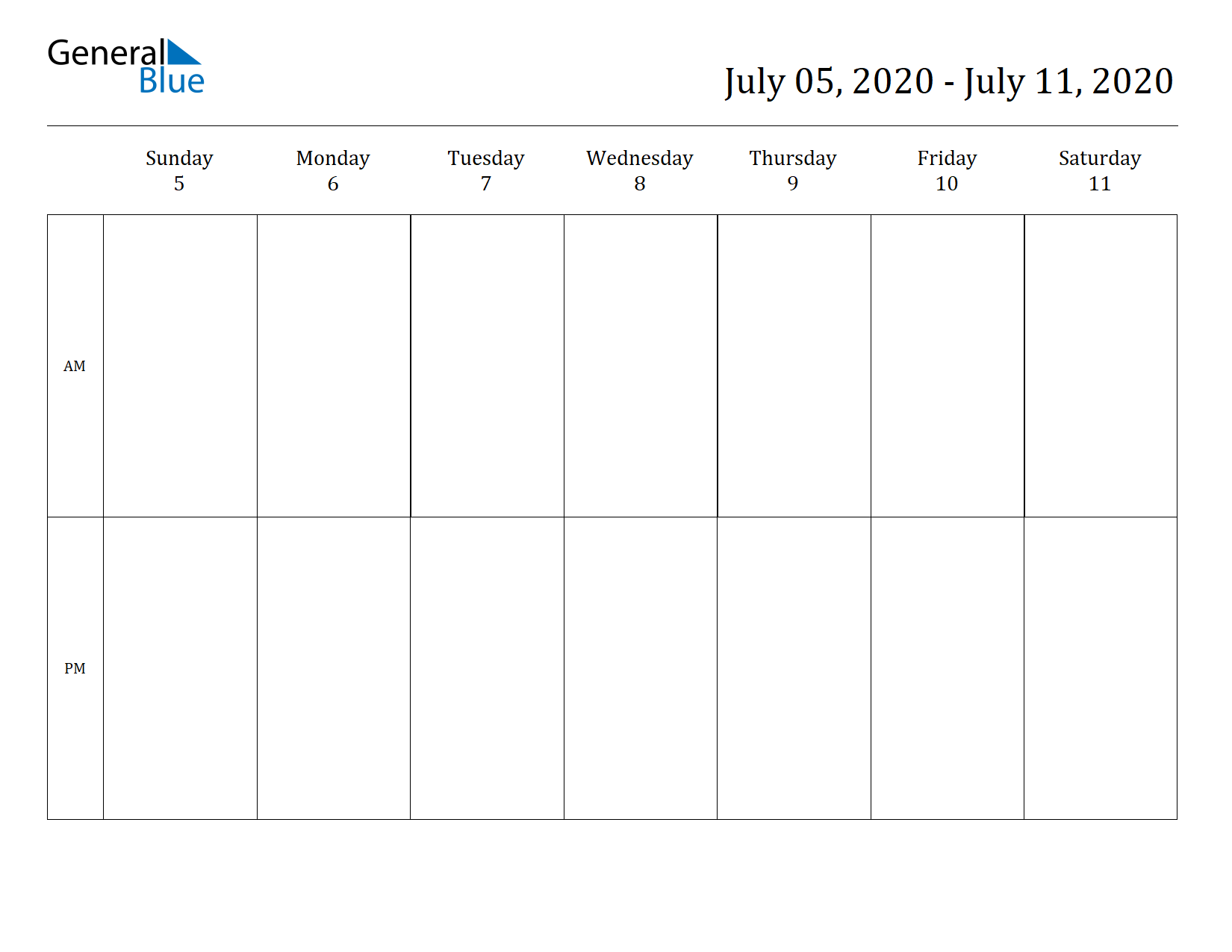 Weekly Calendar for Jul 05, 2020 to Jul 11, 2020