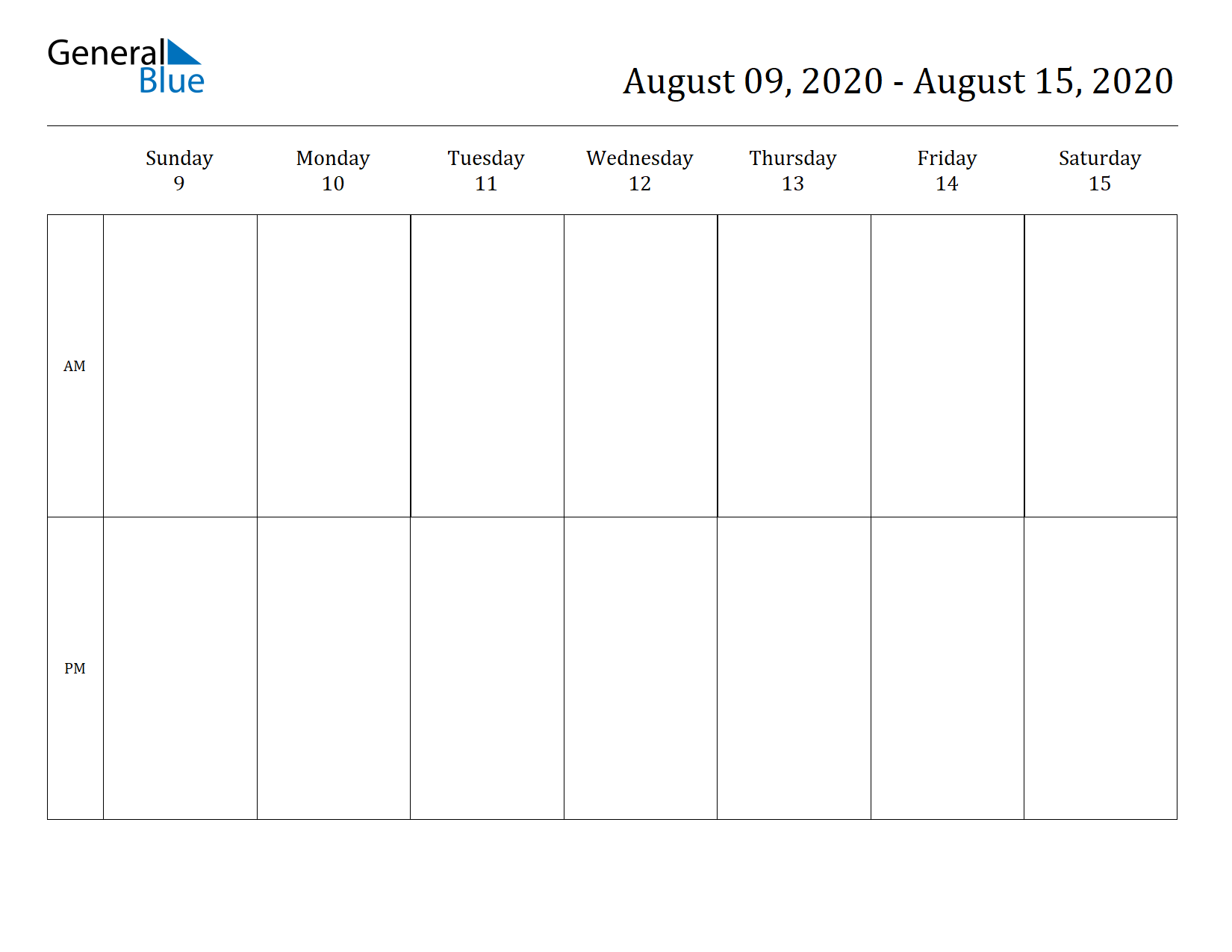 Weekly Calendar for Aug 09, 2020 to Aug 15, 2020