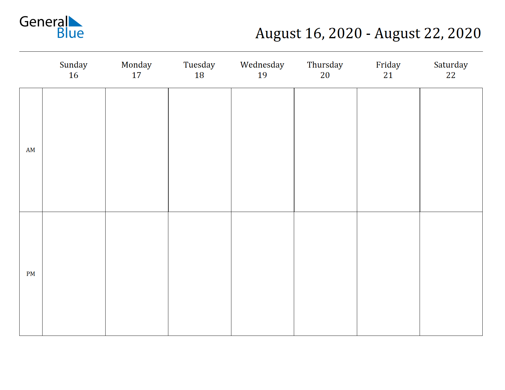 Weekly Calendar for Aug 16, 2020 to Aug 22, 2020