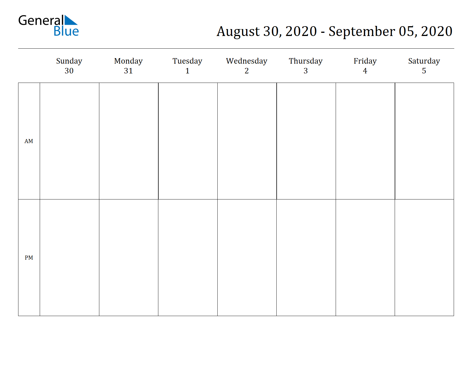 Weekly Calendar for Aug 30, 2020 to Sep 05, 2020