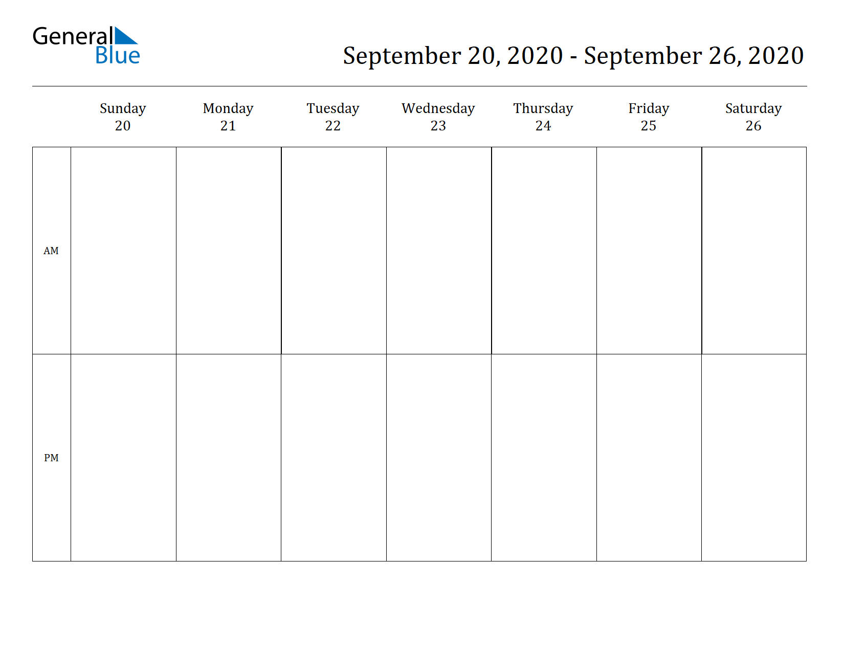 Weekly Calendar for Sep 20, 2020 to Sep 26, 2020
