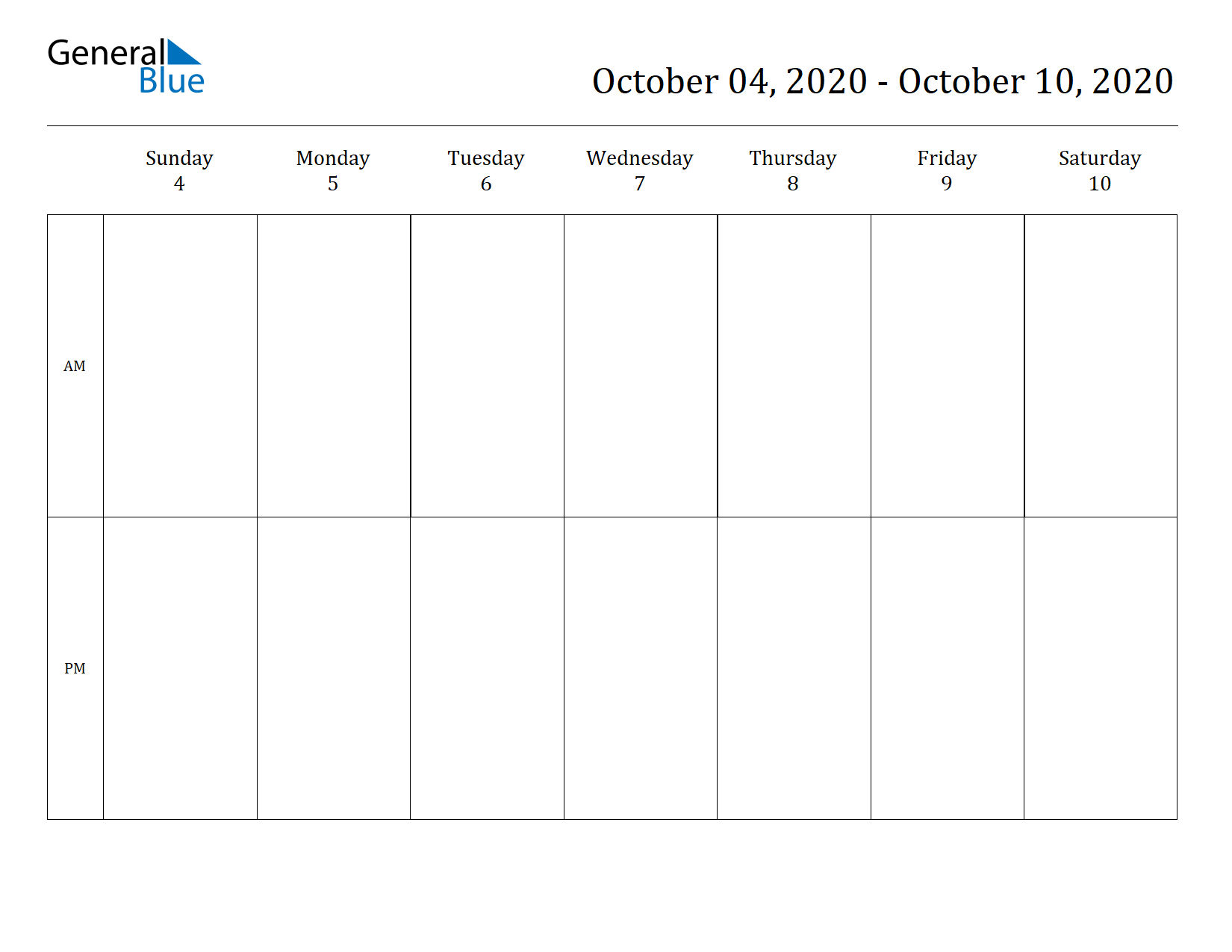 Weekly Calendar for Oct 04, 2020 to Oct 10, 2020