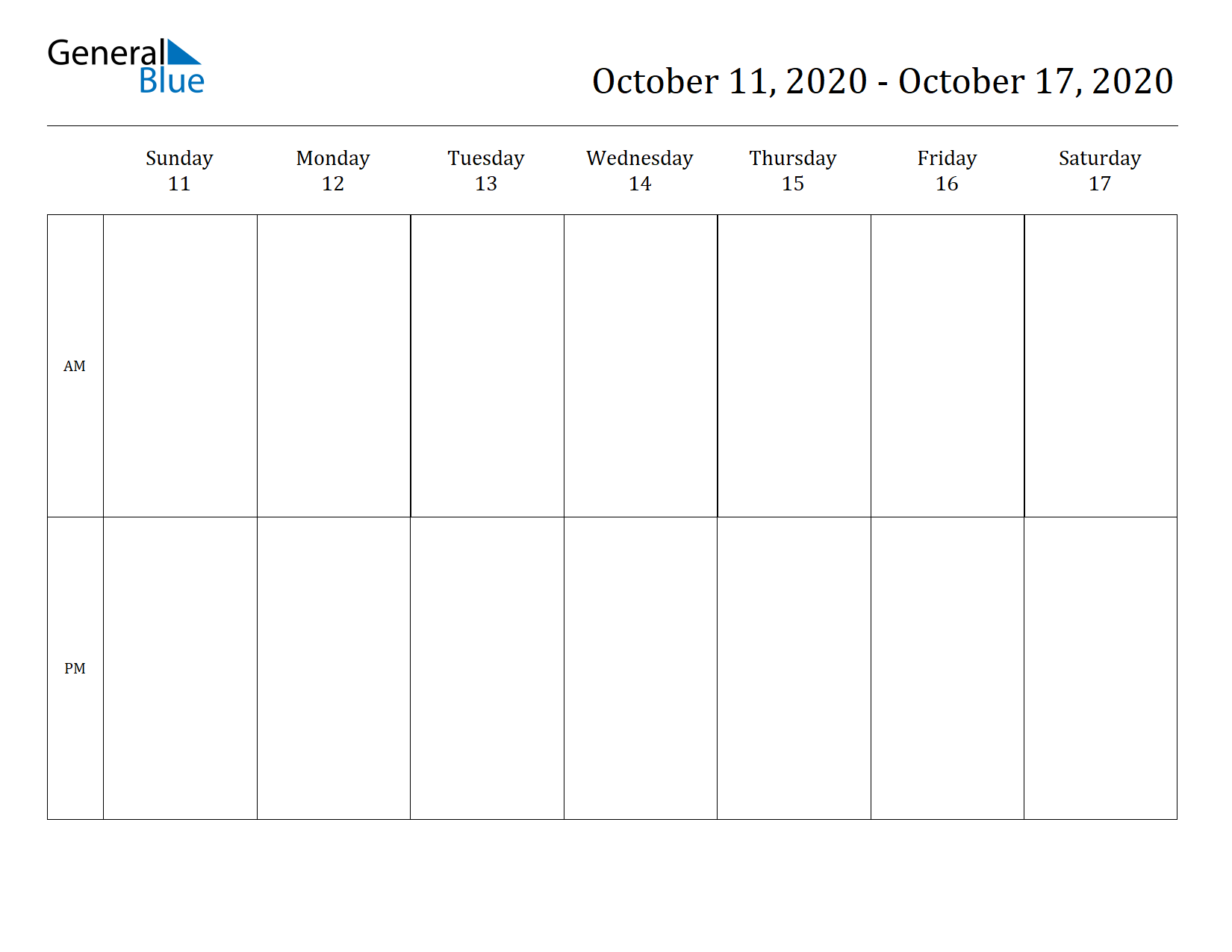 Weekly Calendar for Oct 11, 2020 to Oct 17, 2020