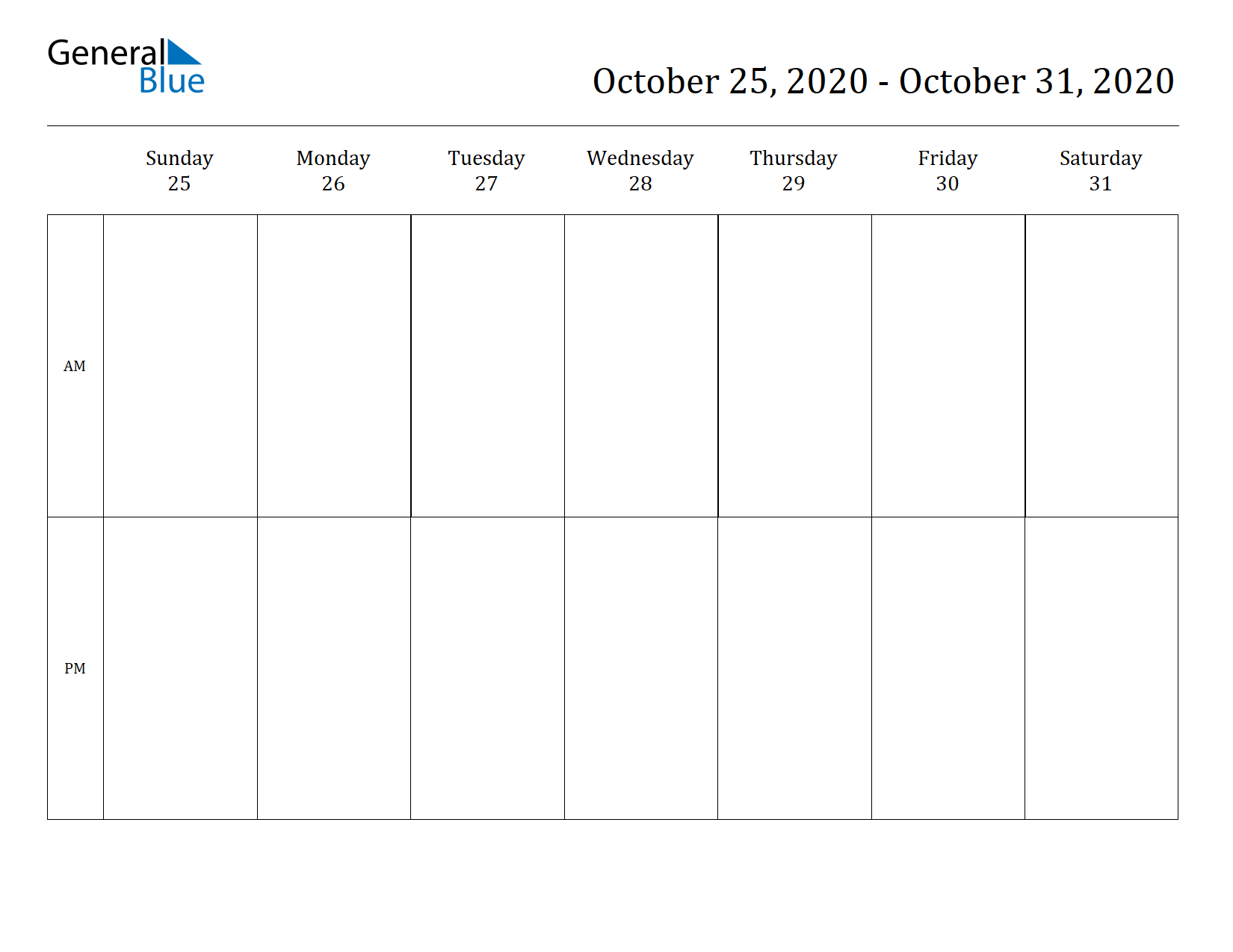 Weekly Calendar for Oct 25, 2020 to Oct 31, 2020