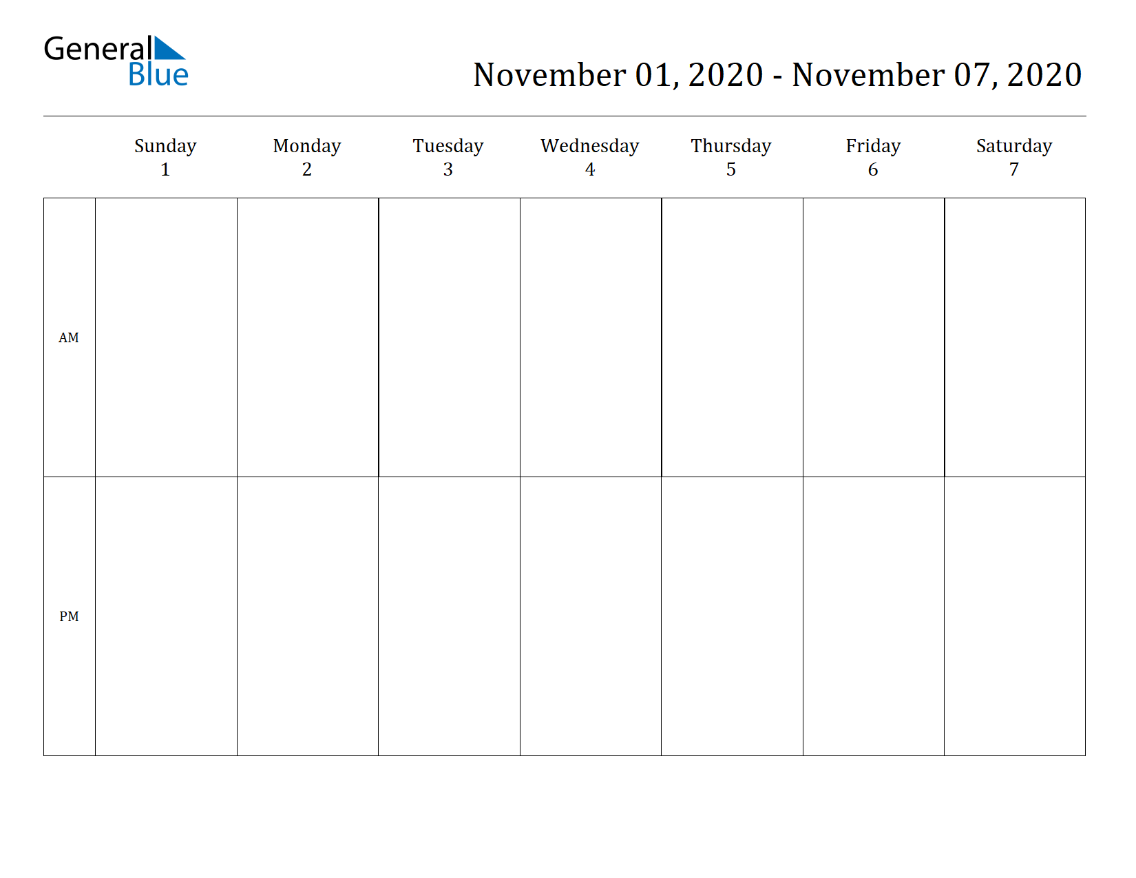 Weekly Calendar for Nov 01, 2020 to Nov 07, 2020