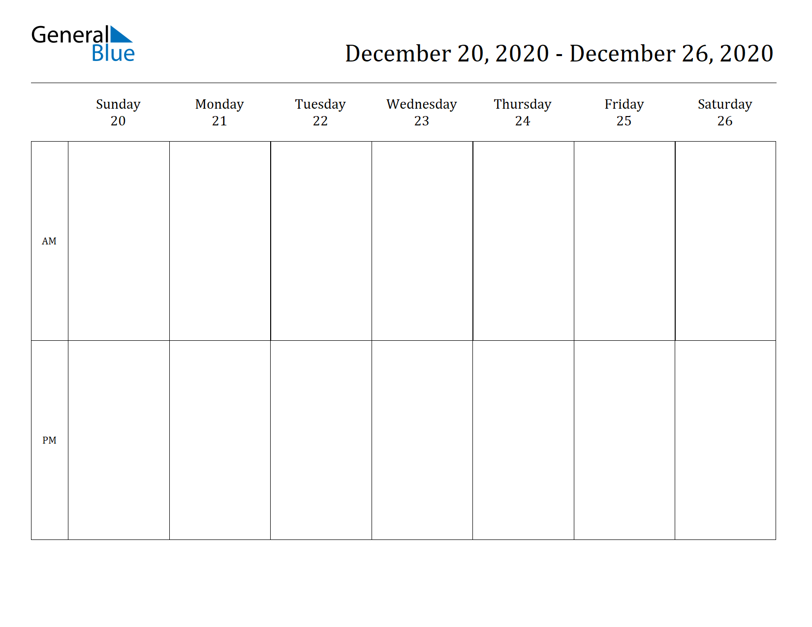 Weekly Calendar for Dec 20, 2020 to Dec 26, 2020