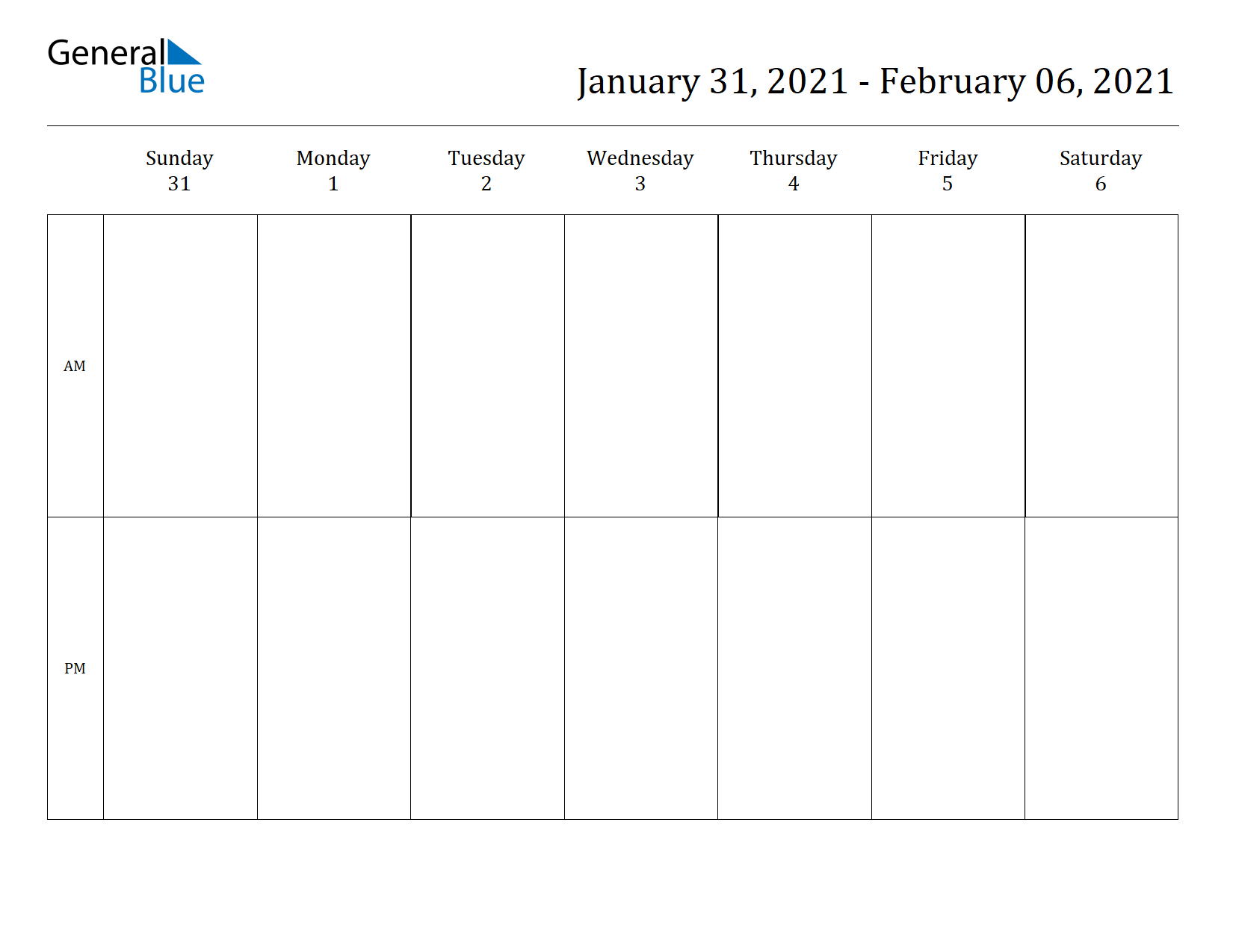 Weekly Calendar for Jan 31, 2021 to Feb 06, 2021