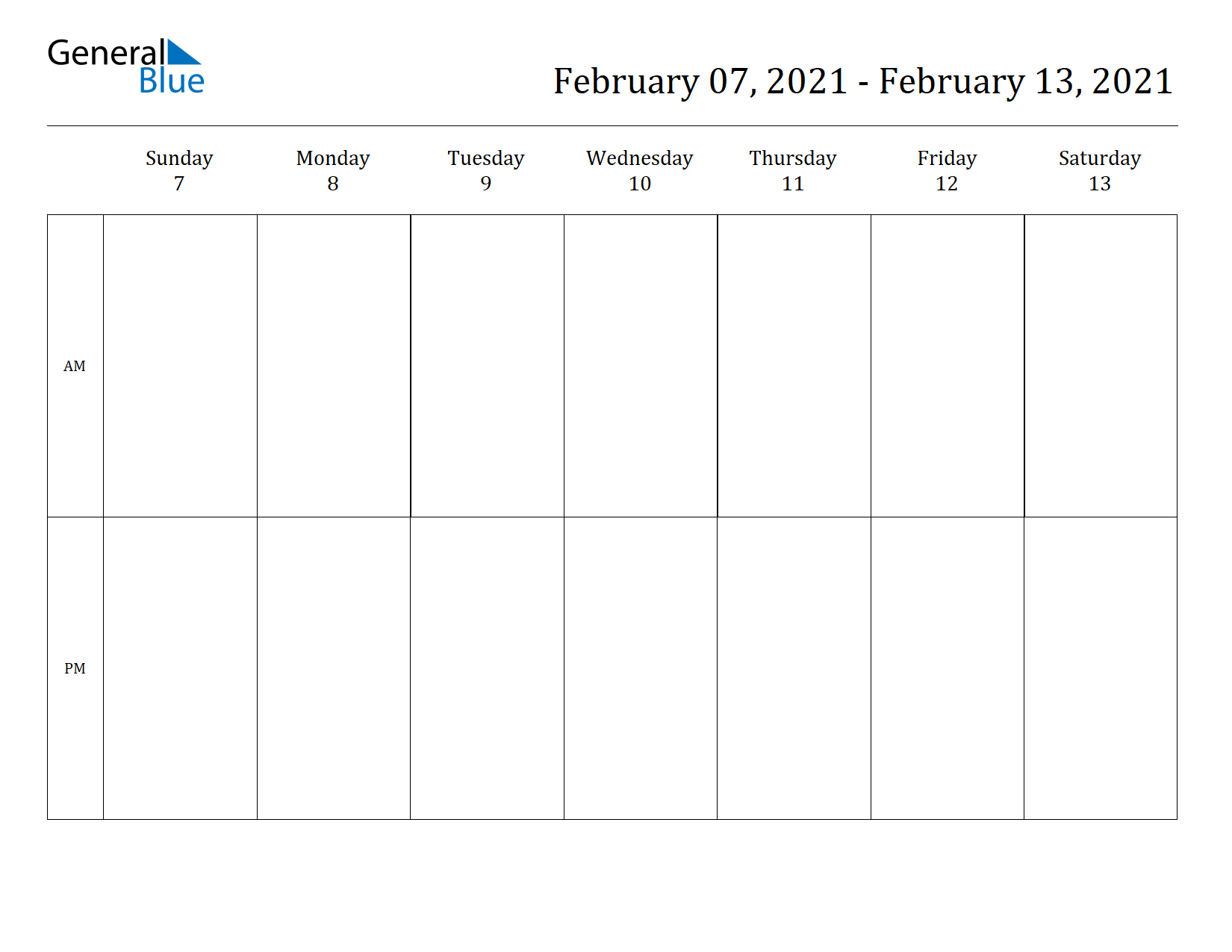 Weekly Calendar for Feb 07, 2021 to Feb 13, 2021