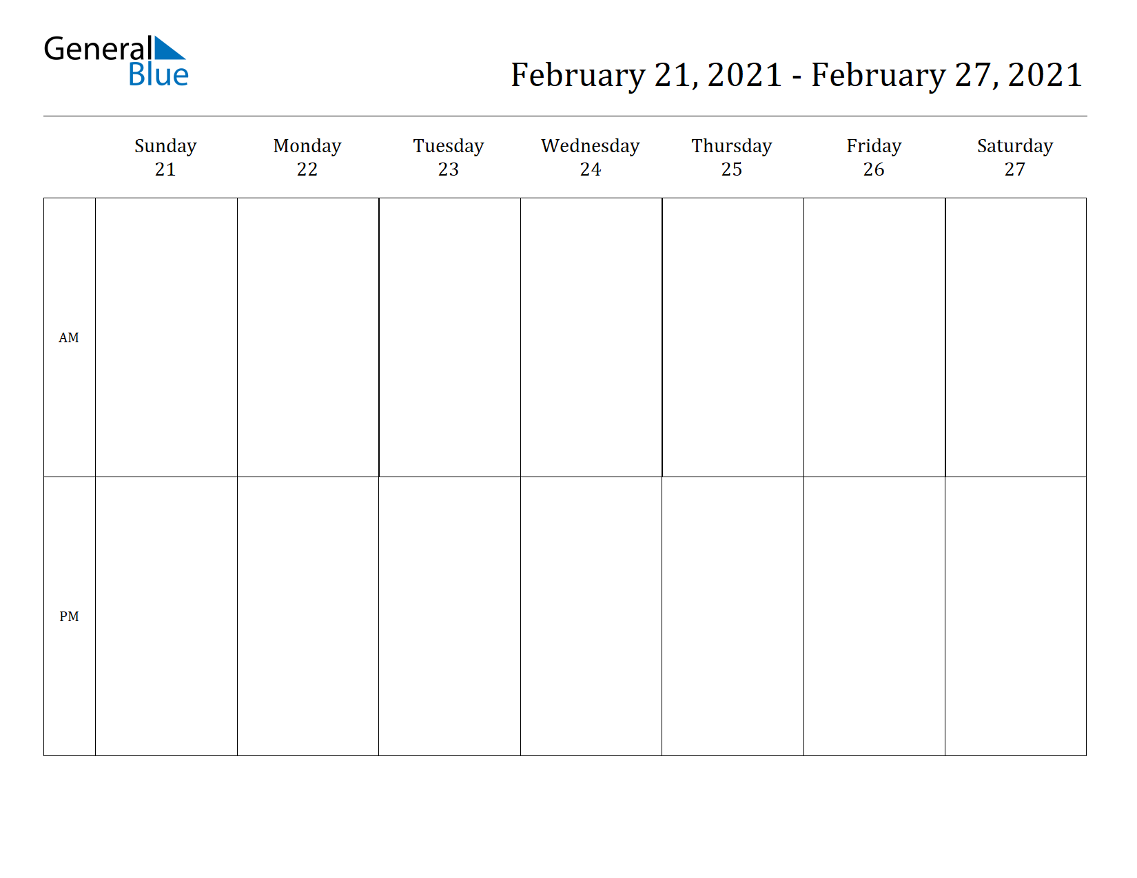 Weekly Calendar for Feb 21, 2021 to Feb 27, 2021