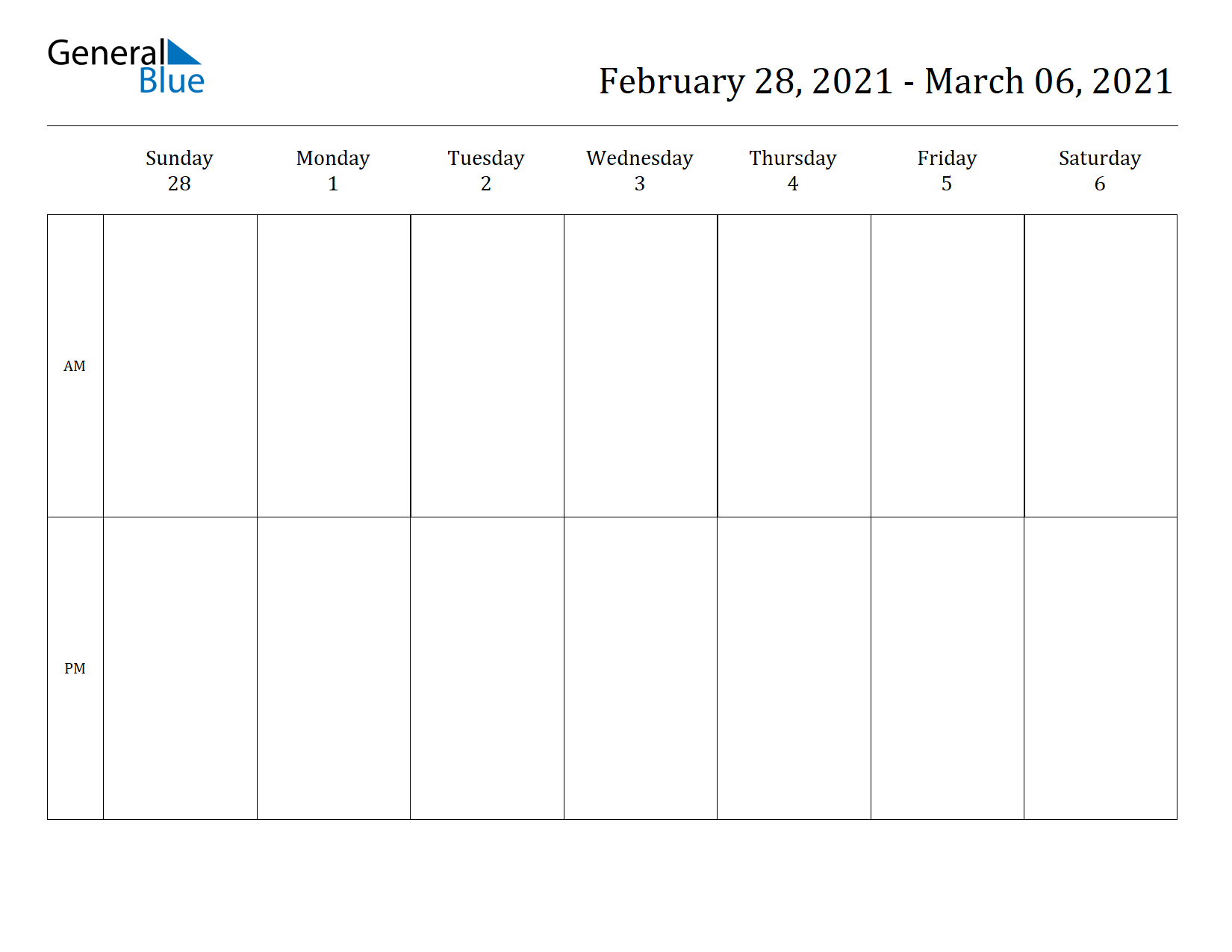 Weekly Calendar for Feb 28, 2021 to Mar 06, 2021
