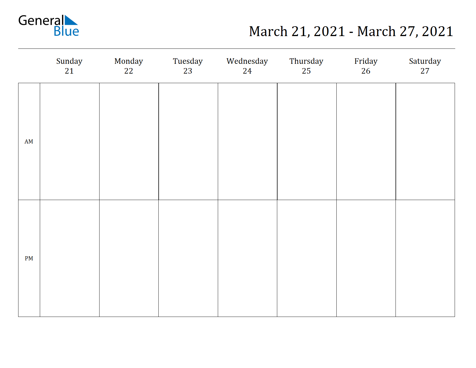 Weekly Calendar for Mar 21, 2021 to Mar 27, 2021