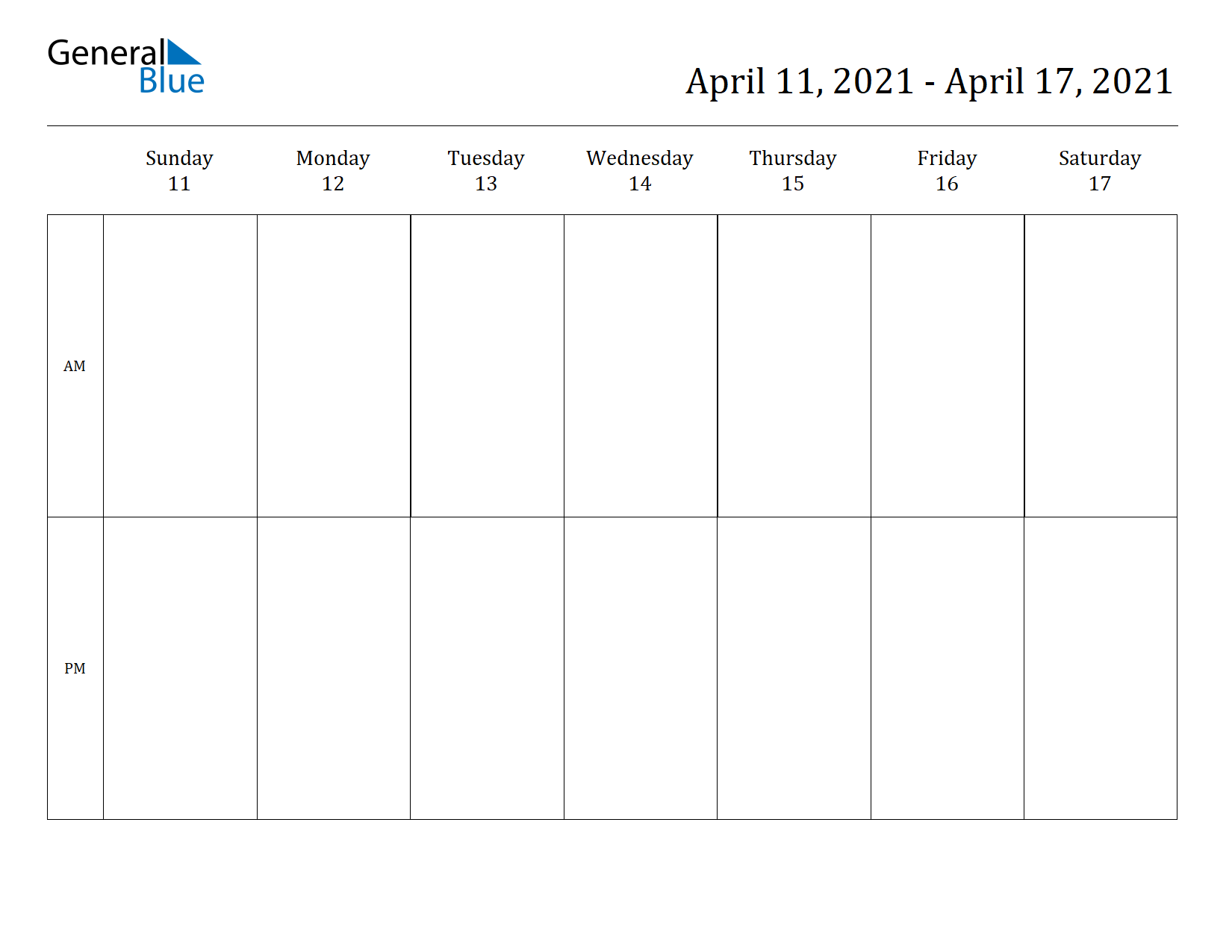 Weekly Calendar for Apr 11, 2021 to Apr 17, 2021