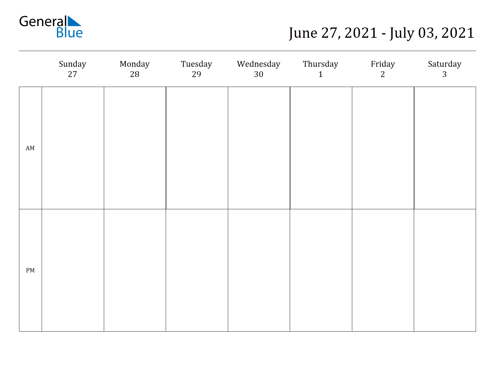 Weekly Calendar for Jun 27, 2021 to Jul 03, 2021