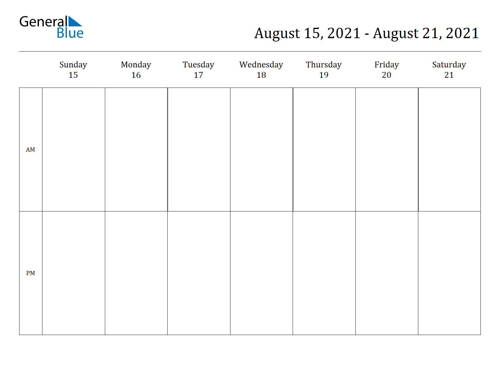 Weekly Calendar for Aug 15, 2021 to Aug 21, 2021