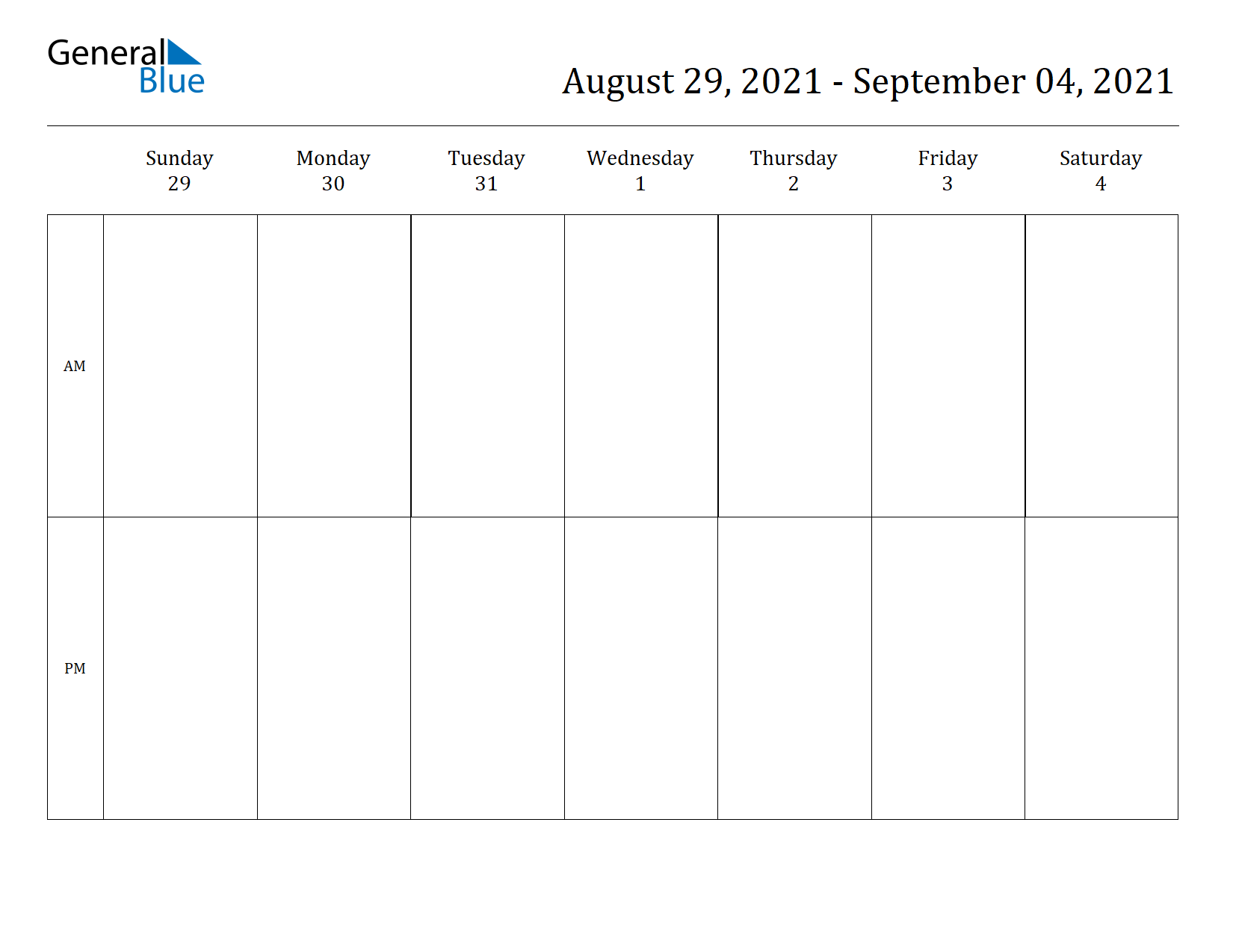 Weekly Calendar for Aug 29, 2021 to Sep 04, 2021