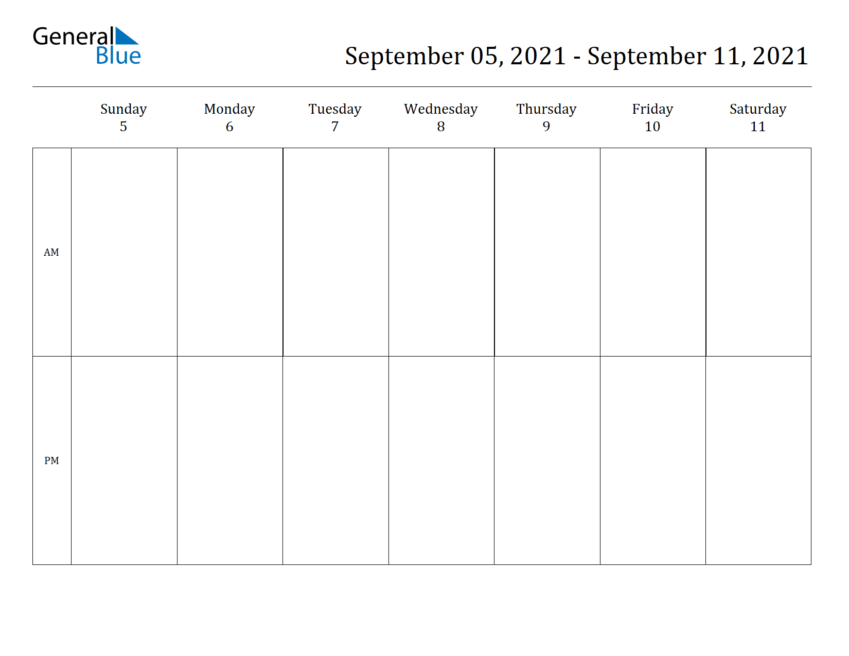 Weekly Calendar for Sep 05, 2021 to Sep 11, 2021