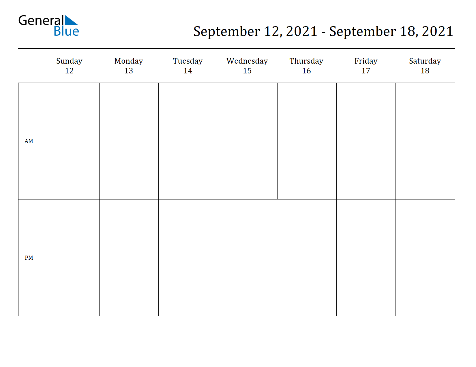 Weekly Calendar for Sep 12, 2021 to Sep 18, 2021