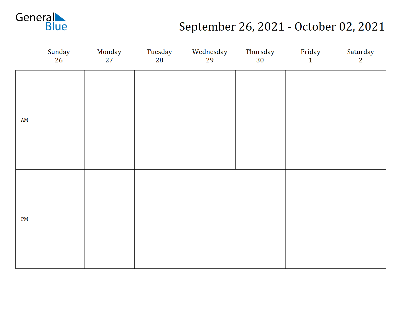 Weekly Calendar for Sep 26, 2021 to Oct 02, 2021
