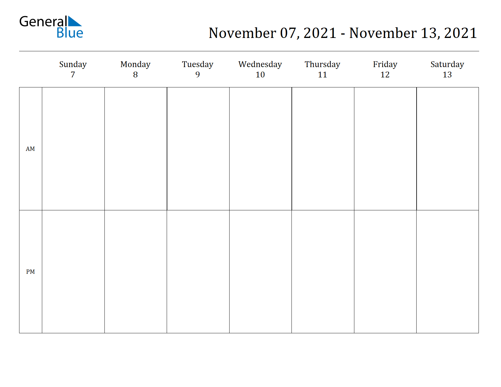 Weekly Calendar for Nov 07, 2021 to Nov 13, 2021