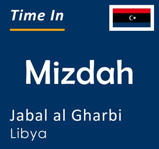 Current time in Mizdah, Jabal al Gharbi, Libya