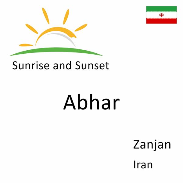 Sunrise and sunset times for Abhar, Zanjan, Iran