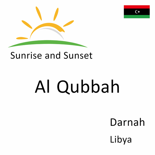 Sunrise and sunset times for Al Qubbah, Darnah, Libya