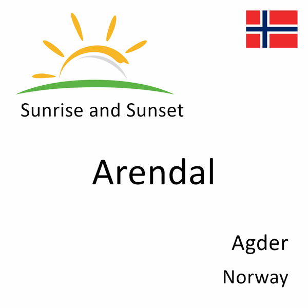 Sunrise and sunset times for Arendal, Agder, Norway