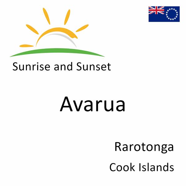 Sunrise and sunset times for Avarua, Rarotonga, Cook Islands