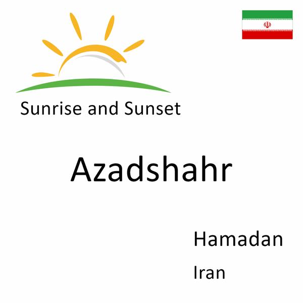 Sunrise and sunset times for Azadshahr, Hamadan, Iran