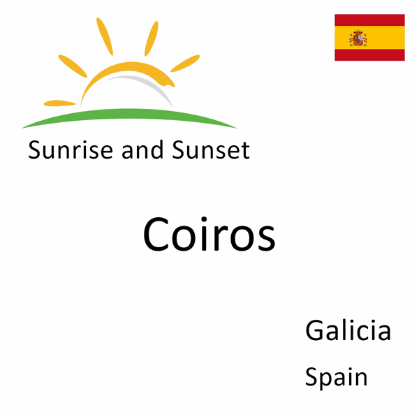 Sunrise and sunset times for Coiros, Galicia, Spain