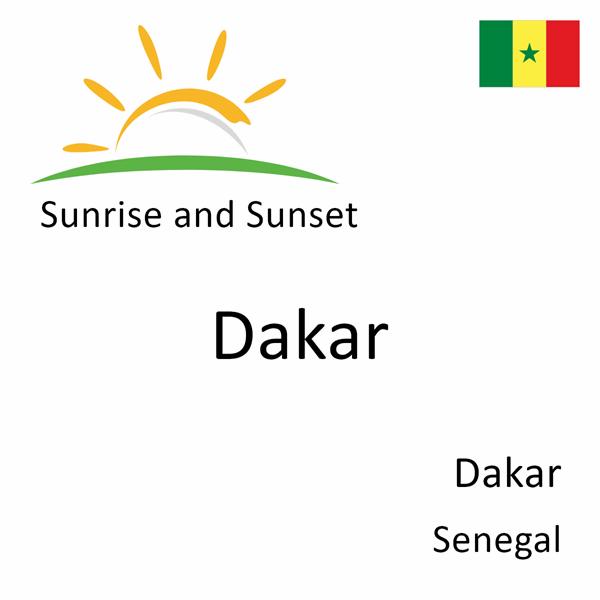 Sunrise and sunset times for Dakar, Dakar, Senegal