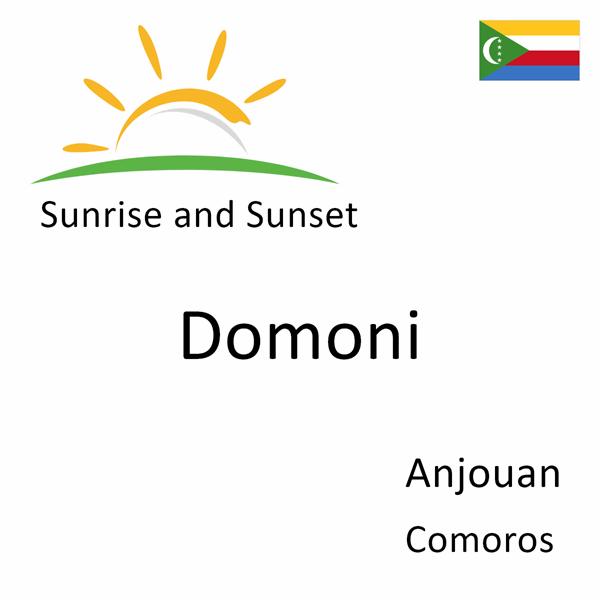 Sunrise and sunset times for Domoni, Anjouan, Comoros