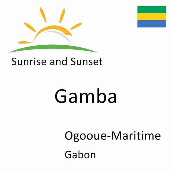 Sunrise and sunset times for Gamba, Ogooue-Maritime, Gabon
