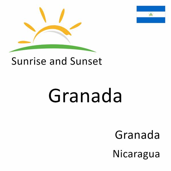Sunrise and sunset times for Granada, Granada, Nicaragua
