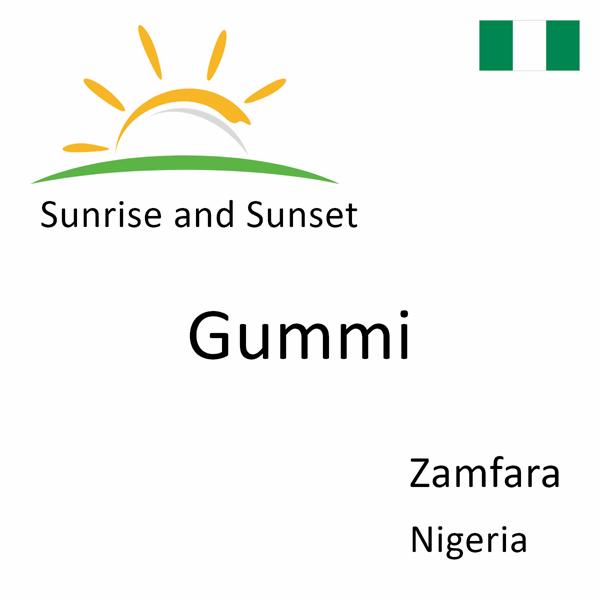 Sunrise and sunset times for Gummi, Zamfara, Nigeria