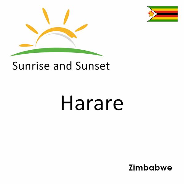 Sunrise and sunset times for Harare, Zimbabwe