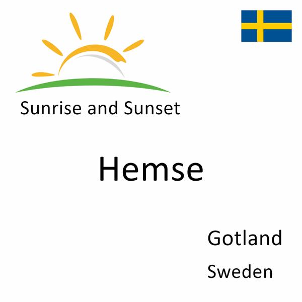 Sunrise and sunset times for Hemse, Gotland, Sweden