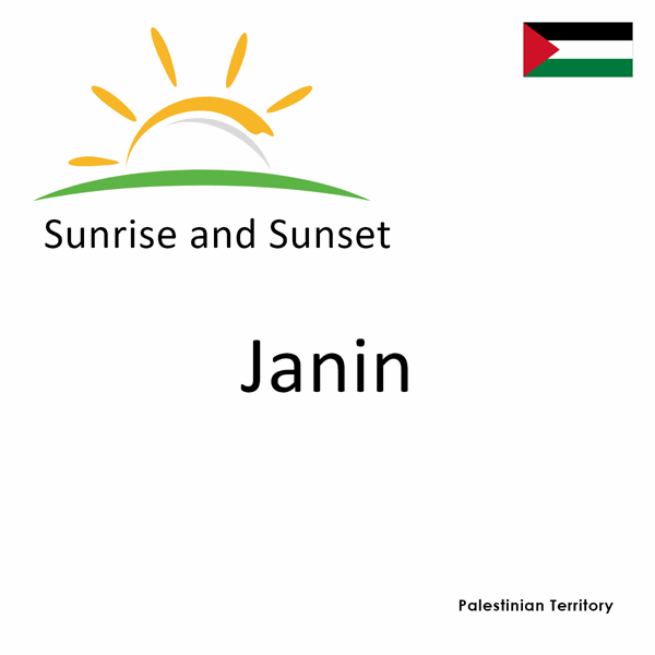 Sunrise and sunset times for Janin, Palestinian Territory
