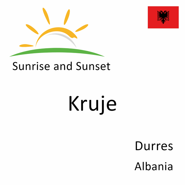 Sunrise and sunset times for Kruje, Durres, Albania