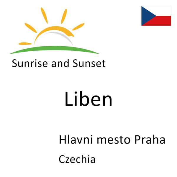 Sunrise and sunset times for Liben, Hlavni mesto Praha, Czechia