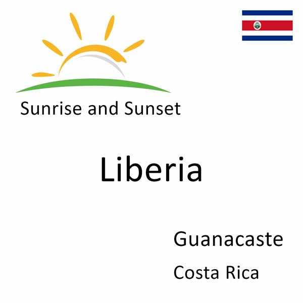 Sunrise and sunset times for Liberia, Guanacaste, Costa Rica