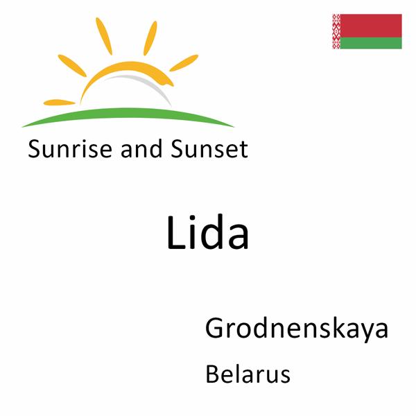 Sunrise and sunset times for Lida, Grodnenskaya, Belarus