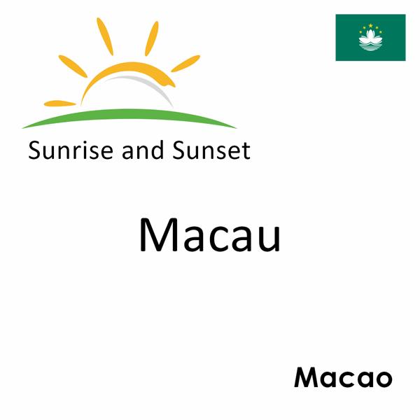 Sunrise and sunset times for Macau, Macao